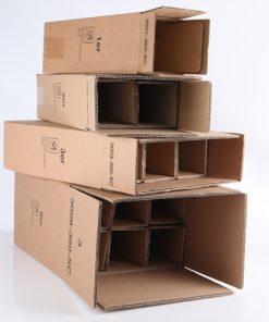 Flesverzenddoos, 2 fles, bruin, 360 mm hoog, incl. binnenwerk, 20 stuks per doos -0
