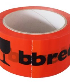 Tape, PP hotmelt, 'BREEKBAAR', oranje / zwart, 48 mm x 66 m per rol, 36 rol per doos-0