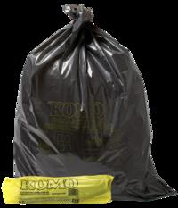 Vuilniszakken, KOMO, LDPE, 50 My, zwart, 60 x 80 cm, 20 rol a 20 zakken per doos.-0